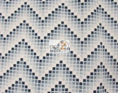 Chevron Zig Zag Cubes Blue By Santee Printworks 100 Cotton Fabric By The Yard (FH-3791) Clothing Decor Garments Licensed