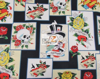Love Is True Skull Cards By Quilting Treasures 100% Cotton Fabric - Sold By  The Yard (FH-2315) Ed Hardy 23ecd9df38