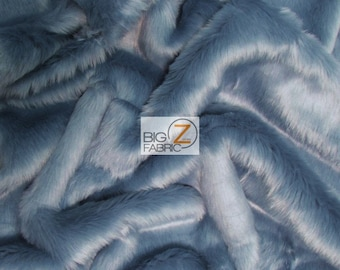 DENIM Sold By The Yard 60 Width Coats Costumes Scarfs Rugs Props Long Pile Solid Shaggy Faux Fur Fabric