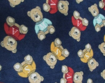 WHERE ARE MY TEDDY BEARS NAVY FLEECE PRINTED FABRIC FH-245 BY YARD WARM BLANKET