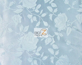 "Floral Rose Jacquard Satin Fabric - BABY BLUE - 60"" Width Sold By The Yard"