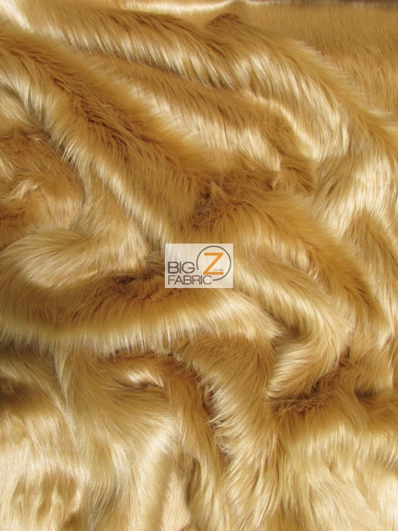 Sold By The Yard 60 Width Coats Costumes Scarfs Rugs Props Long Pile Solid Shaggy Faux Fur Fabric CAMEL