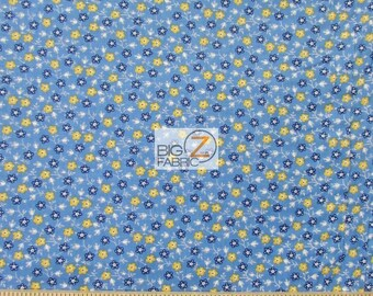 """Mini Rosette Blue By Andover Fabrics 100% Cotton Fabric  - 45"""" Width Sold By The Yard (FH-1639)"""