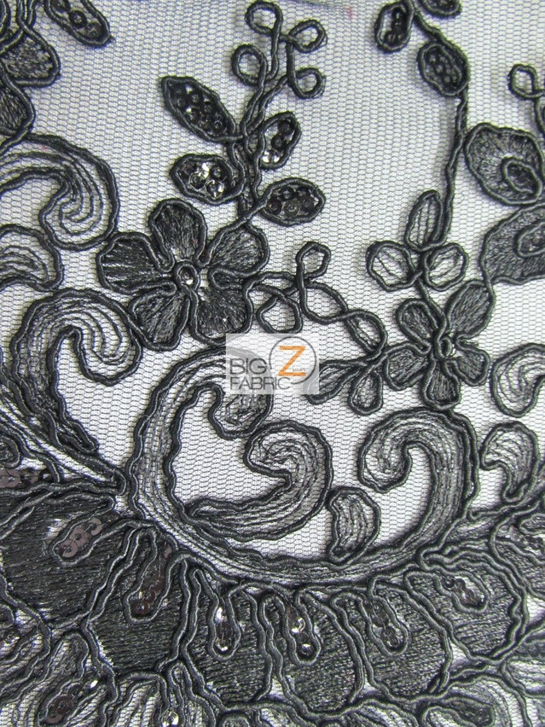 39fbae272c Cinderella Floral Sequins Lace Fabric BLACK By The Yard