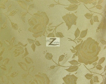 "Floral Rose Jacquard Satin Fabric - DARK GOLD - 60"" Width Sold By The Yard"