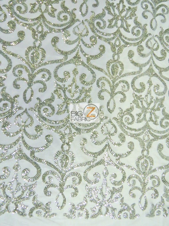 e7732463ca Unique Vintage Damask Sequins Fabric - SILVER - By The Yard DIY Gatsby  Dress Prom Gown Apparel Bridal Decor Accessories Free Shipping