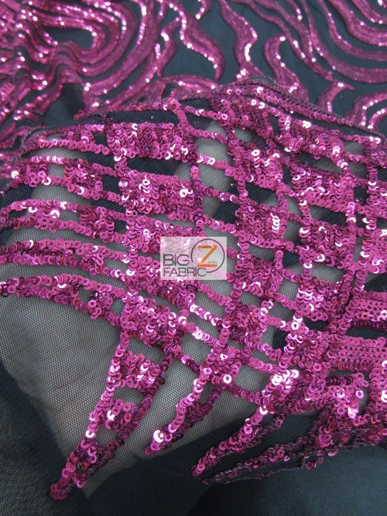 BLACK 5460 Width Sold By The Yard Elegant Formal Sequins Dress Fabric