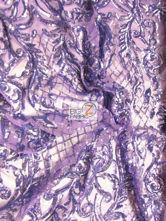 CABARET SEQUINS STRETCH MESH FABRIC Lavender BY THE YARD DRESS FASHION