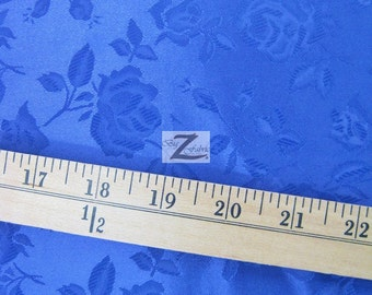 "Floral Rose Jacquard Satin Fabric - ROYAL BLUE - 60"" Width Sold By The Yard"