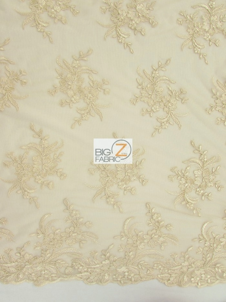 49 Wide By The Yard Wedding Gown Gorgeous Floral Embroidery Bridal Dress Lace Fabric Champagne