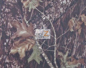 "Mossy Oak Breakup Woodland Camouflage Spandex Fabric  - BROWN - Sold By The Yard 58"" Width Clothes Dresses Athletic Wear"