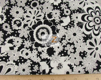 100% Cotton Fabric By Riley Blake - Parisan Flowers Black/White - By The Yard (FH-2691) Decor Clothing Baby Theme Licensed