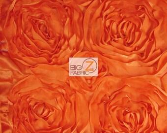 "Rosette Style Taffeta Fabric - ORANGE - 52/58"" Width By The Yard Wedding Prom Bridal Dress"