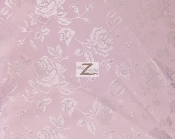 "Floral Rose Jacquard Satin Fabric - LIGHT PINK - 60"" Width Sold By The Yard"