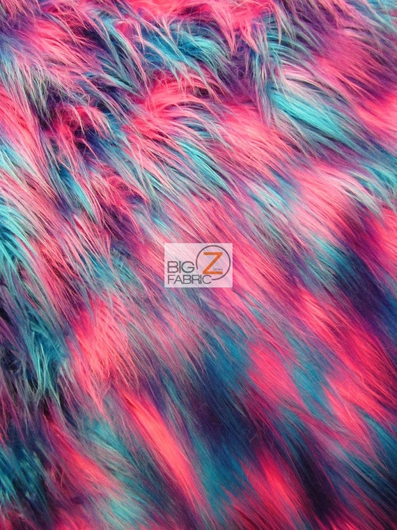 PinkLimeYellow 60 Width Sold By The Yard Faux Fake Fur 3 Tone Rainbow Shiny Tinsel Long Pile Fabric