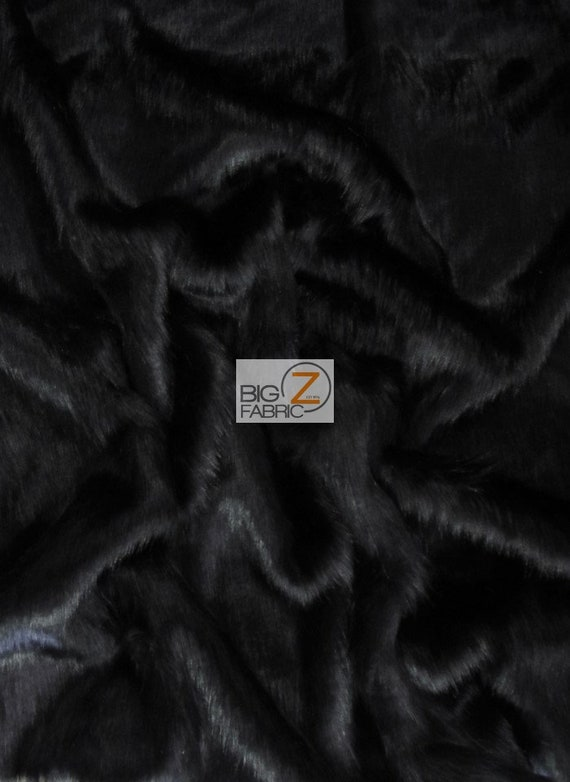 Short Shag Faux Fur Fabric BLACK Sold By The Yard 60 Width Coats Costumes Scarfs Rugs Props Short Pile