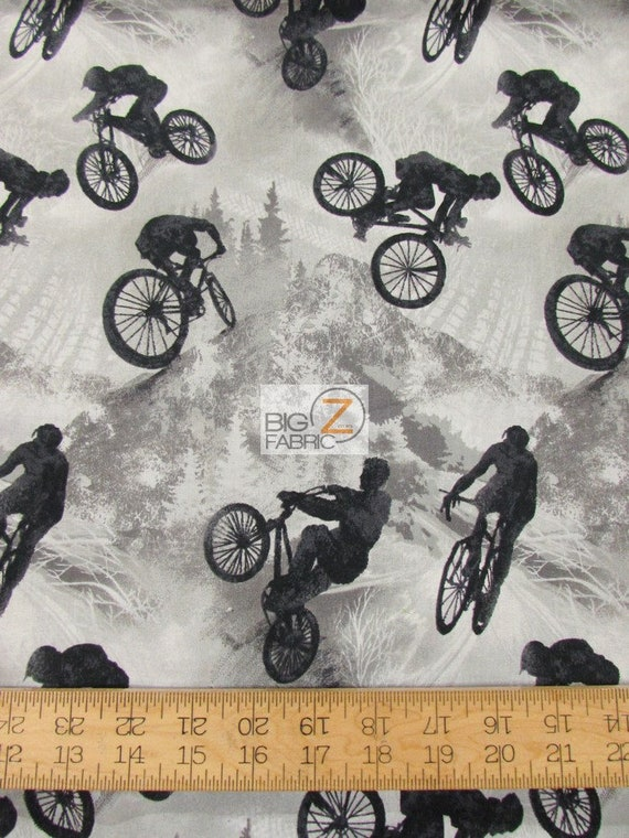 100% Cotton Fabric By Fabri-Quilt Inc - Allstars Extreme Sports Bicycle -  45