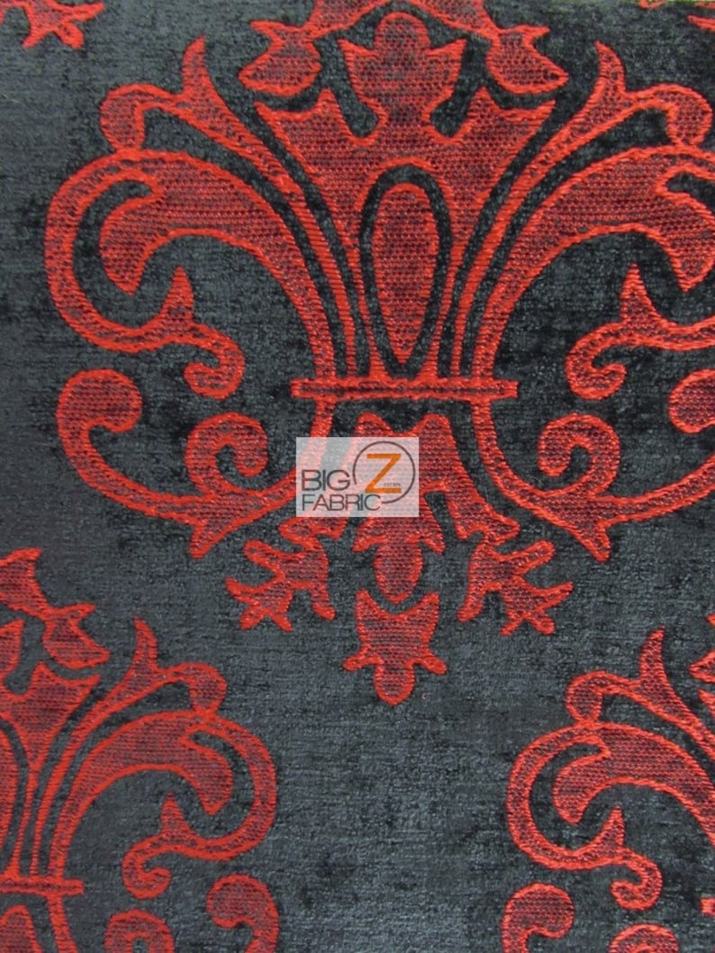 Reversible Damask Chenille Jacquard Drapery Upholstery Fabric CRIMSON Sold By Yard Sofa Curtains Home Decor Vintage