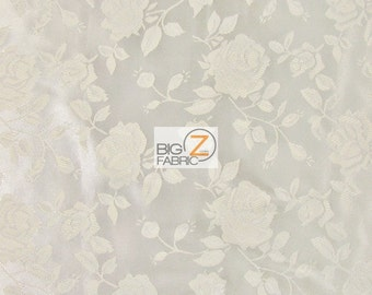 "Floral Rose Jacquard Satin Fabric - IVORY - 60"" Width Sold By The Yard"