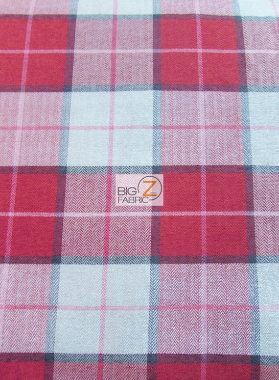 Luxury Tartan Plaid Upholstery Fabric Red Sold By Yard Etsy