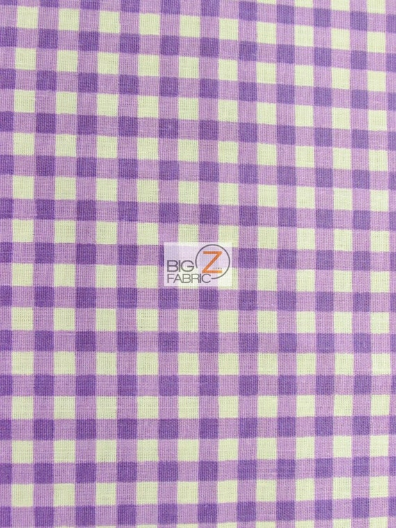 "Lavender 57/""//59/"" WIDTH SOLD BTY CHECKERED GINGHAM POLY COTTON PRINTED FABRIC"
