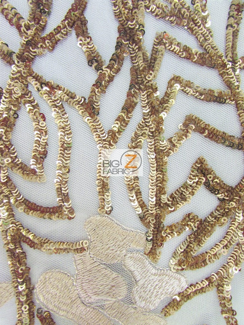 Sold By The Yard Prom Gown Evening Dress Fashion Rose Petals Garden Vines Sequins Fabric GOLD