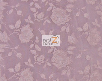 "Floral Rose Jacquard Satin Fabric - MAUVE - 60"" Width Sold By The Yard"