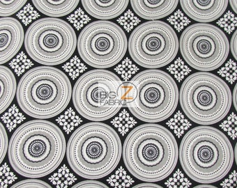 100% Cotton Fabric By Riley Blake - Parisan Circles Black/White - By The Yard (FH-2690) Decor Clothing Baby Theme Licensed