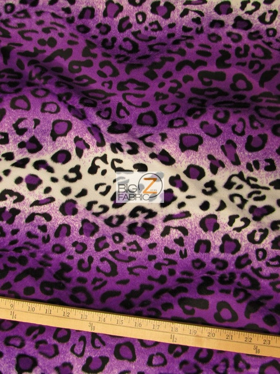 """Purple Leopard Velboa Faux Fur Fabric 58/""""// 60/"""" Sold By The Yard"""