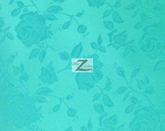"Floral Rose Jacquard Satin Fabric - AQUA - 60"" Width Sold By The Yard"