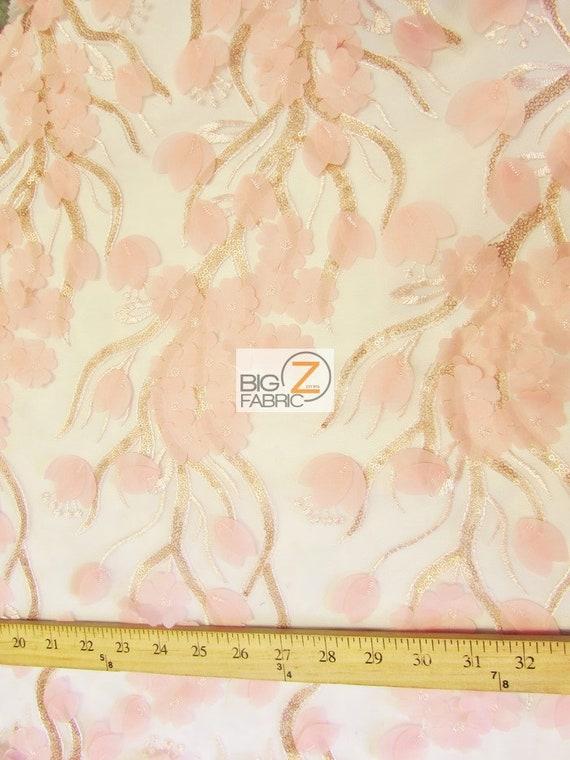 Puffy Puffy Puffy 3D Floral paillettes en mousseline de soie en dentelle tissu - 8 couleurs - vendu par la Cour de bricolage robe de mariée vêtements accessoires mode ec040e