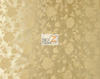 "Floral Rose Jacquard Satin Fabric - NEW GOLD - 60"" Width Sold By The Yard"
