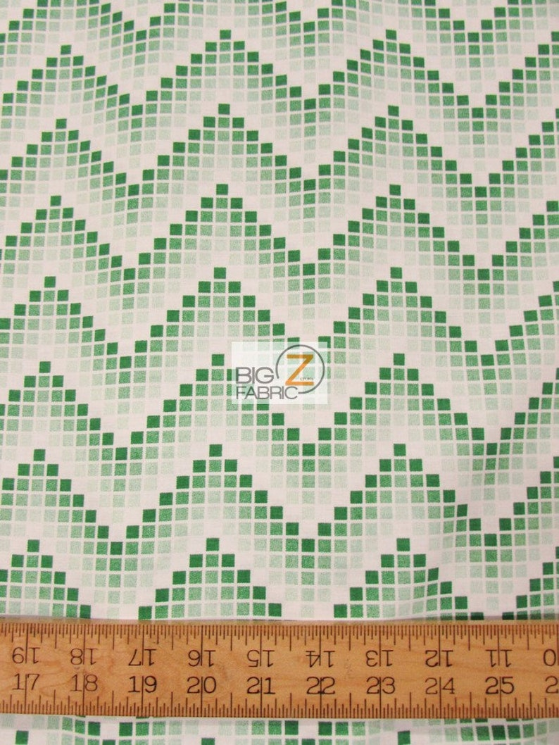 Chevron Zig Zag Cubes Green By Santee Printworks 100% Cotton Fabric By The  Yard (FH-3792) Clothing Decor Garments Licensed
