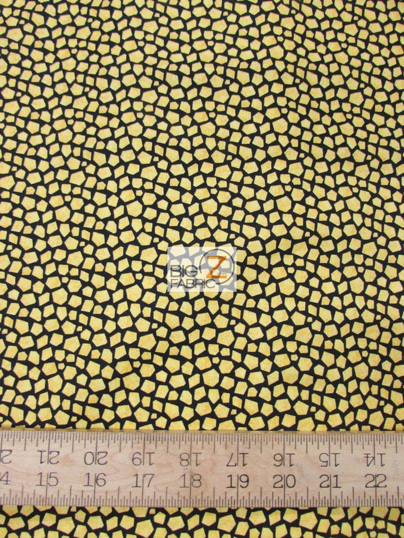 100% Cotton Fabric By Red Rooster Fabrics - Stone Age Yellow/Black - Sold  By The Yard (FH-3764) DIY Clothing Accessories Decor