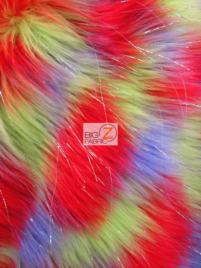 60 Width Sold By The Yard Faux Fake Fur 3 Tone Rainbow Shiny Tinsel Long Pile Fabric RedLavenderLime