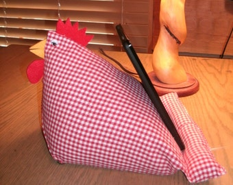 Ipad Tablet Kindle stand wedge bean bag lap holder cookbook holder red gingham whimsical country farm chicken sitting hen