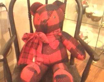 Bear Love Bear Teddy Bear black and red buffalo plaid fleece with plaid bow and crocheted heart