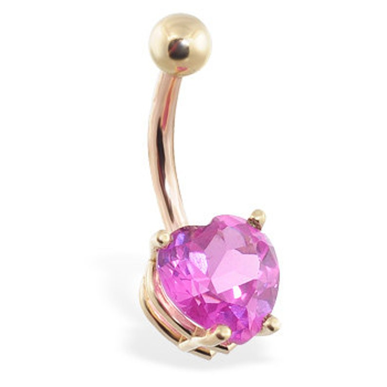 Yellow or White gold Free Shipping 14K Solid Gold Belly Ring with Pink tourmaline 8mm heart