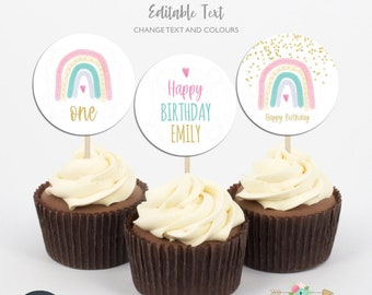 Boho Rainbow Cupcake Toppers, Rainbow Party Circles, Editable Cupcake Toppers, Printable template, Digital File, Instant Download