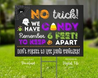 Halloween Yard Sign, Printable Yard Sign, Trick or Treat Yard Sign, Halloween 2021, We Have Candy Sign, Printable Signs