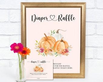 Pumpkin Diaper Raffle Cards, Fall Baby Shower, Baby Girl Raffle Cards, Baby Shower Raffle, Watercolour Pumpkin, Instant Download