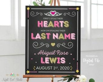 Adoption Day Sign, Princess Adoption Sign, Printable Adoption Sign, Shared Last Name Adoption Sign, Photo Prop, Announcement