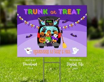 Trunk or Treat Halloween Yard Sign, Trunk or Treat from 6 Feet, Printable Yard Sign, Halloween Sign, Socially Distance Halloween