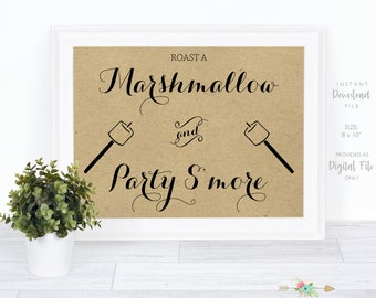 S'mores Wedding Sign, Roast a Marshmallow and Party S'more, Kraft Wedding Sign, Bridal Shower Sign, Instant Download