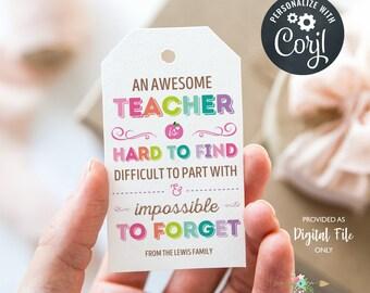 Teacher Gift Tag, An Awesome Teacher, Teacher Gift, Teacher Appreciation, Editable Gift Tag, Digital File
