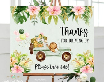 Editable Jungle Birthday Parade Sign, Girl Safari Parade Printable Sign, Drive Through Party Sign, Pink Jungle Party Sign, Instant Download