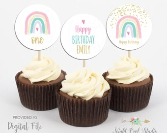 Rainbow Birthday Cupcake Toppers, Boho Rainbow Cupcake Toppers, Watercolour Rainbow Cupcake Toppers, DIY Cupcake Toppers