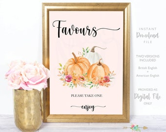 Gift Table Sign, Printable Gift Table Sign, 8x10, Fall Shower, Baby Shower, Pumpkins and Autumn Leaves, Fall Bridal Shower, Instant Download