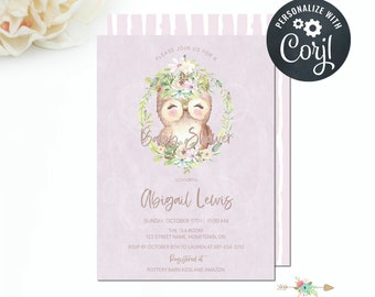 Girl Woodland Owl Invitation, Woodland Baby Shower Invitation, Owl Watercolour, Editable Invitation Template, Instant Download