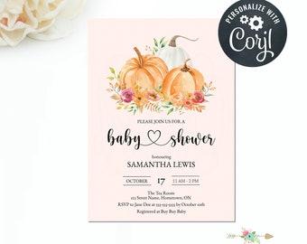 Pumpkin Baby Shower Invitation, Editable Invitation, Editable Template, Fall Baby Shower, Girl Pumpkin Invite